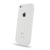 Soft Plastic Case for Apple iPhone 5c (White Perforated Pattern)