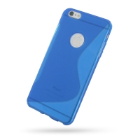 Soft Plastic Case for Apple iPhone 6 Plus | iPhone 6s Plus (Blue S Shape Pattern)