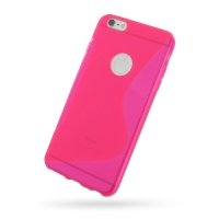Soft Plastic Case for Apple iPhone 6 Plus | iPhone 6s Plus (Pink S Shape Pattern)
