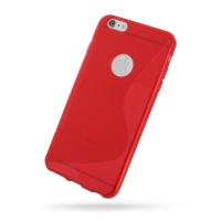 Soft Plastic Case for Apple iPhone 6 Plus | iPhone 6s Plus (Red S Shape Pattern)