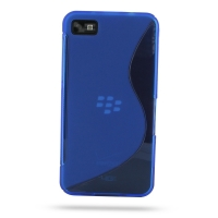 BlackBerry Z10 Soft Case (Blue S Shape pattern) PDair Premium Hadmade Genuine Leather Protective Case Sleeve Wallet