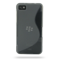 BlackBerry Z10 Soft Case (Grey S Shape pattern) PDair Premium Hadmade Genuine Leather Protective Case Sleeve Wallet