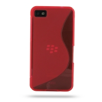 BlackBerry Z10 Soft Case (Red S Shape pattern) PDair Premium Hadmade Genuine Leather Protective Case Sleeve Wallet