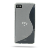 BlackBerry Z10 Soft Case (Translucent S Shape pattern) PDair Premium Hadmade Genuine Leather Protective Case Sleeve Wallet