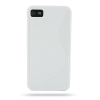 BlackBerry Z10 Soft Case (White S Shape pattern) PDair Premium Hadmade Genuine Leather Protective Case Sleeve Wallet
