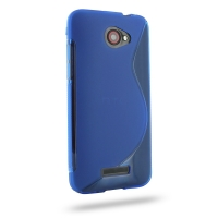 HTC Butterfly Soft Case (Blue S Shape pattern) PDair Premium Hadmade Genuine Leather Protective Case Sleeve Wallet