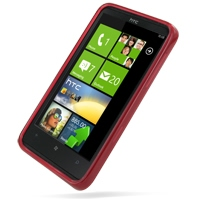 HTC HD7 T9292 Soft Case (Red) PDair Premium Hadmade Genuine Leather Protective Case Sleeve Wallet