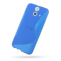 Soft Plastic Case for HTC One E8 (Blue S Shape Pattern)
