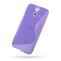 Soft Plastic Case for HTC One E8 (Purple S Shape Pattern)