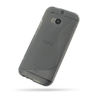 HTC One M8 Soft Case (Grey S Shape pattern) PDair Premium Hadmade Genuine Leather Protective Case Sleeve Wallet