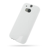 HTC One M8 Soft Case (White S Shape pattern) PDair Premium Hadmade Genuine Leather Protective Case Sleeve Wallet