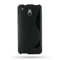 HTC One mini Soft Case (Black S Shape pattern) PDair Premium Hadmade Genuine Leather Protective Case Sleeve Wallet