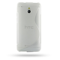 HTC One mini Soft Case (Translucent S Shape pattern) PDair Premium Hadmade Genuine Leather Protective Case Sleeve Wallet