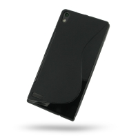 Huawei Ascend P6 Soft Case (Black S Shape pattern) PDair Premium Hadmade Genuine Leather Protective Case Sleeve Wallet
