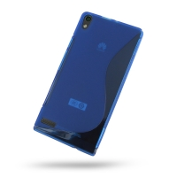 Huawei Ascend P6 Soft Case (Blue S Shape pattern) PDair Premium Hadmade Genuine Leather Protective Case Sleeve Wallet