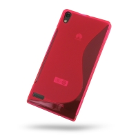 Huawei Ascend P6 Soft Case (Pink S Shape pattern) PDair Premium Hadmade Genuine Leather Protective Case Sleeve Wallet