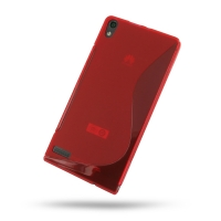 Huawei Ascend P6 Soft Case (Red S Shape pattern) PDair Premium Hadmade Genuine Leather Protective Case Sleeve Wallet