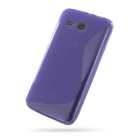 Huawei Ascend Y511 Soft Case (Purple S Shape pattern) PDair Premium Hadmade Genuine Leather Protective Case Sleeve Wallet