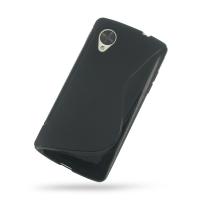 Nexus 5 Soft Case (Black S Shape pattern) PDair Premium Hadmade Genuine Leather Protective Case Sleeve Wallet