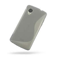 Nexus 5 Soft Case (Grey S Shape pattern) PDair Premium Hadmade Genuine Leather Protective Case Sleeve Wallet