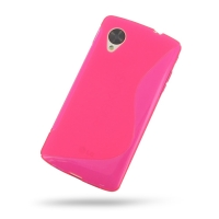 Nexus 5 Soft Case (Pink S Shape pattern) PDair Premium Hadmade Genuine Leather Protective Case Sleeve Wallet