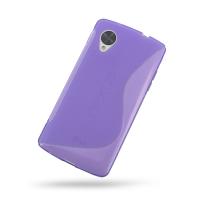 Nexus 5 Soft Case (Purple S Shape pattern) PDair Premium Hadmade Genuine Leather Protective Case Sleeve Wallet