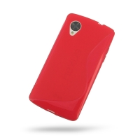 Nexus 5 Soft Case (Red S Shape pattern) PDair Premium Hadmade Genuine Leather Protective Case Sleeve Wallet