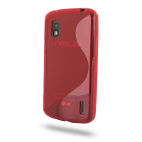 Nexus 4 Soft Case (Red S Shape pattern) PDair Premium Hadmade Genuine Leather Protective Case Sleeve Wallet