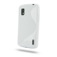 Nexus 4 Soft Case (White S Shape pattern) PDair Premium Hadmade Genuine Leather Protective Case Sleeve Wallet