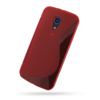 Moto G 2nd Gen Soft Case (Red S Shape pattern) PDair Premium Hadmade Genuine Leather Protective Case Sleeve Wallet