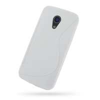 Moto G 2nd Gen Soft Case (White S Shape pattern) PDair Premium Hadmade Genuine Leather Protective Case Sleeve Wallet