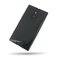 Nokia Lumia 1520 Soft Case (Black S Shape pattern) PDair Premium Hadmade Genuine Leather Protective Case Sleeve Wallet