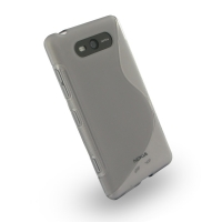 Nokia Lumia 820 Soft Case (Grey S Shape pattern) PDair Premium Hadmade Genuine Leather Protective Case Sleeve Wallet