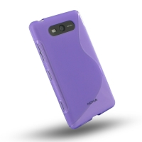 Nokia Lumia 820 Soft Case (Purple S Shape pattern) PDair Premium Hadmade Genuine Leather Protective Case Sleeve Wallet
