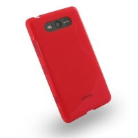 Nokia Lumia 820 Soft Case (Red S Shape pattern) PDair Premium Hadmade Genuine Leather Protective Case Sleeve Wallet