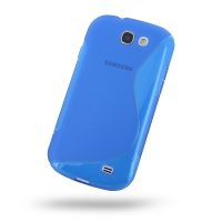 Soft Plastic Case for Samsung Galaxy Express GT-i8730 (Blue S Shape Pattern)