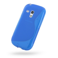 Samsung Galaxy S3 Mini Soft Case (Blue S Shape pattern) PDair Premium Hadmade Genuine Leather Protective Case Sleeve Wallet