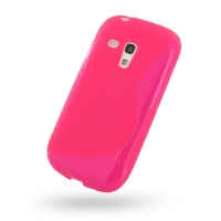 Samsung Galaxy S3 Mini Soft Case (Pink S Shape pattern) PDair Premium Hadmade Genuine Leather Protective Case Sleeve Wallet