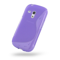 Samsung Galaxy S3 Mini Soft Case (Purple S Shape pattern) PDair Premium Hadmade Genuine Leather Protective Case Sleeve Wallet