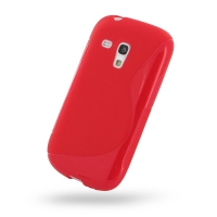 Samsung Galaxy S3 Mini Soft Case (Red S Shape pattern) PDair Premium Hadmade Genuine Leather Protective Case Sleeve Wallet