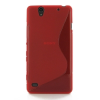 Sony Xperia C4 Soft Case (Red S Shape pattern) PDair Premium Hadmade Genuine Leather Protective Case Sleeve Wallet
