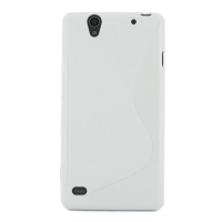 Sony Xperia C4 Soft Case (White S Shape pattern) PDair Premium Hadmade Genuine Leather Protective Case Sleeve Wallet