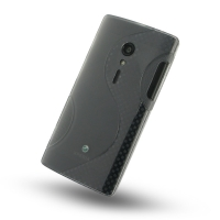Sony Xperia Ion Soft Case (Grey S Shape pattern) PDair Premium Hadmade Genuine Leather Protective Case Sleeve Wallet