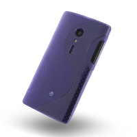 Sony Xperia Ion Soft Case (Purple S Shape pattern) PDair Premium Hadmade Genuine Leather Protective Case Sleeve Wallet
