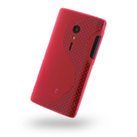 Sony Xperia Ion Soft Case (Red S Shape pattern) PDair Premium Hadmade Genuine Leather Protective Case Sleeve Wallet
