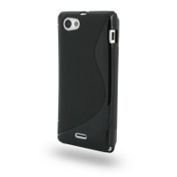 Soft Plastic Case for Sony Xperia J ST26 (Black S Shape Pattern)