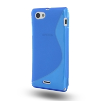 Soft Plastic Case for Sony Xperia J ST26 (Blue S Shape Pattern)