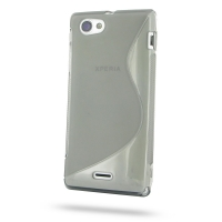 Soft Plastic Case for Sony Xperia J ST26 (Grey S Shape Pattern)