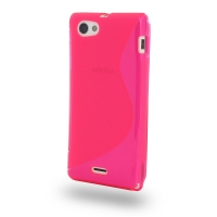 Soft Plastic Case for Sony Xperia J ST26 (Pink S Shape Pattern)