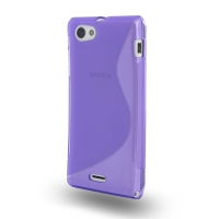 Soft Plastic Case for Sony Xperia J ST26 (Purple S Shape Pattern)